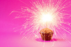 Cupcake with a sparkler over a pink background. Royalty Free Stock Photos