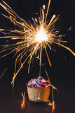 Cupcake with sparkler Stock Photography