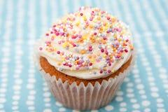 Cupcake on a Spotty Napkin Stock Photos
