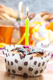 Cupcake with sprinkles and candle Royalty Free Stock Photo