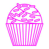 Cupcake with sprinkles. Simple thin line cupcake with sprinkles icon vector Royalty Free Stock Images