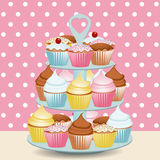 Cupcake stand Stock Images