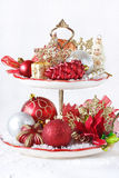 Cupcake stand with christmas decorations. Royalty Free Stock Images