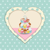 Cupcake stand and polka dot heart Stock Photos