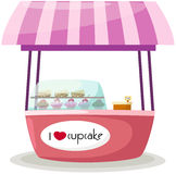 Cupcake stand shop. Illustration of isolated cupcake stand shop on white Stock Images