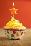 Cupcake with star candle Stock Photo