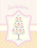 Cupcake stencil invitation Stock Photos