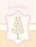 Cupcake stencil invitation vector illustration