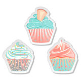 Cupcake stickers, food labels set in pastel colors royalty free illustration