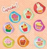 Cupcakes Stickers Set Stock Photography