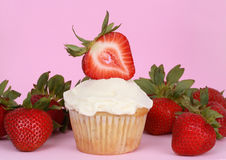 Cupcake and strawberries Stock Photo