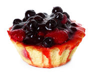 Cupcake with strawberries and blueberries Royalty Free Stock Images