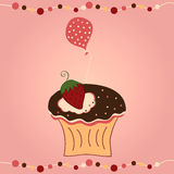 Cupcake with strawberry and balloon. Vector illustration of cupcake with strawberry and balloon on pink background Stock Photo