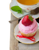 Cupcake with strawberry Stock Photography