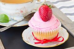 Cupcake with strawberry Stock Photo