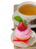 Cupcake with strawberry on white Royalty Free Stock Photo