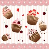 Cupcake on the strip pink  background Royalty Free Stock Photos