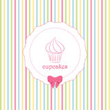 Cupcake and striped background Stock Photography