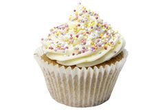 Cupcake with Sugar Balls and Clipping Path Royalty Free Stock Photos