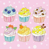 Cupcake sweet color cartoon Stock Images