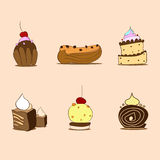Cupcake Sweet Dessert Collection Set Vector Royalty Free Stock Photography