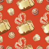 Cupcake and sweets on a red background. Seamless pattern. stock illustration