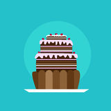 Cupcake  Tasty Cake Flat Vector Royalty Free Stock Image