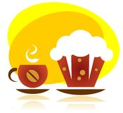 Cupcake and tea cup Stock Photo
