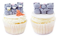 Cupcake with teddy bear family isolated Stock Photography