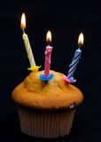Cupcake with Three Lit Candles Royalty Free Stock Image