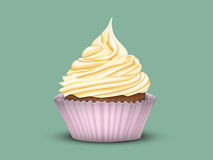 Cupcake tiered cream in a pink Cup. On a green background. Vector image of 3D modelingr Stock Photos