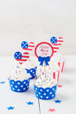 Cupcake to celebrate July 4th isolated on white Stock Photos