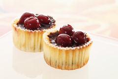 Cupcake topped with chocolate cream and cherries Royalty Free Stock Photography