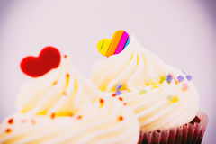 Cupcake topped with heart sugar for valentines Stock Photography