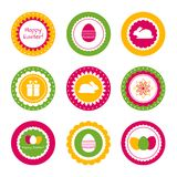 Cupcake toppers for Easter. Set of vector labels for Easter design Royalty Free Stock Images