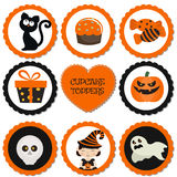 Cupcake toppers for Halloween. Halloween in cartoon style. Halloween objects Royalty Free Stock Photos