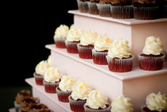 Cupcake Tower. Pink tiered cupcake dessert tower Stock Image