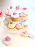 Cupcakes party. Cupcake tray in party with soft light Stock Photos