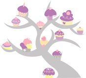 Cupcake tree. Illustrated in pastel colors. (Also in vector format Royalty Free Stock Photo