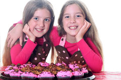 Cupcake twins. Shot of cupcake twins isolated on white Royalty Free Stock Photos