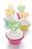 Cupcake for Valentine's Day. Or birthday on the white background stock photos