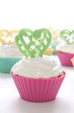 Cupcake for Valentine's Day. Or birthday on the white background stock image