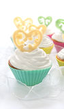 Cupcake for Valentine's Day. Or birthday on the white background stock images