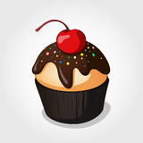 Cupcake. Vanilla cupcake with chocolate frosting and cherry Stock Images