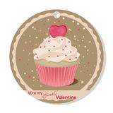 Cupcake with vanilla cream and pink sugar heart for Valentines day. Greeting card, tag or sticker for Sweet Valentine. Vector illustration for Holiday Stock Photography