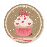 Cupcake with vanilla cream and pink sugar lettering and hearts for Valentines day. Greeting card, tag or sticker for. Sweet Valentine. Vector illustration for Royalty Free Stock Photos