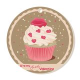Cupcake with vanilla cream and pink sugar lips for Valentines day. Greeting card, tag or sticker for Sweet Valentine. Vector illustration for Holiday Stock Photo