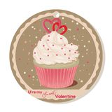 Cupcake with vanilla cream and sugar hearts for Valentines day. Greeting card, tag or sticker for Sweet Valentine. Vector illustration for Holiday Collection Stock Photo
