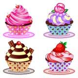 Cupcake Vastgestelde Vectorillustratie Royalty-vrije Stock Fotografie
