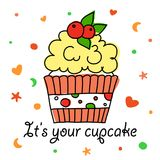 Cupcake vector doodle with berries Royalty Free Stock Images